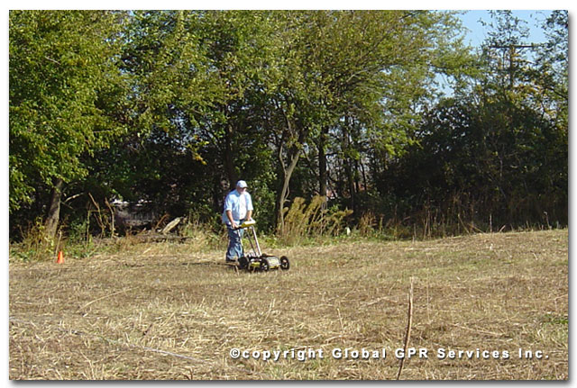GPR technician conducting burial site locate