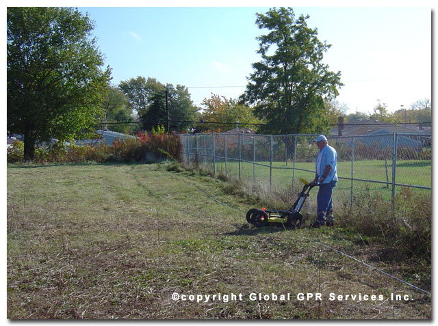 Ground Penetrating Radar technician conducting burial site locate